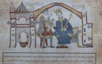 Edward the Confessor, sends Harold to inform William, Duke of Normandy, that he will succeed to the throne of England